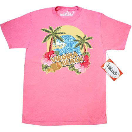 Inktastic Spring Break With Ocean Wave Palm Trees And Hibiscus Flowers - T-Shirt Vacation Sea Flower Virginia Beach Mens Adult Clothing Apparel Tees T-shirts
