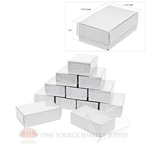 12 White Clear View Vu Top Cotton Filled Jewelry Gift Boxes 2 58 x