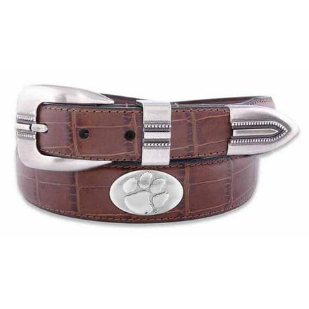 Clemson Concho Crocodile Tan Leather Belt Brown Crocodile Genuine Belt