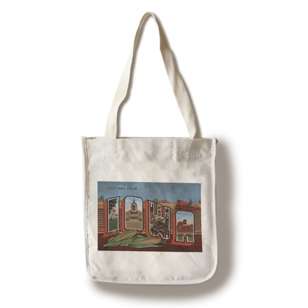 Greetings From Iowa  Cornfields   Corn Background   100  Cotton Tote Bag   Reusable