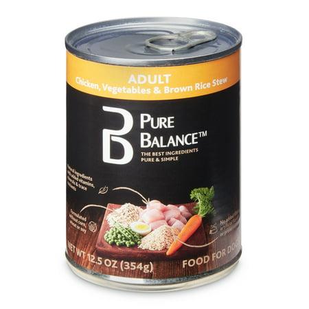 (12 Pack) Pure Balance Chicken, Vegetables & Brown Rice Stew Adult Wet Dog Food, 12.5 Oz