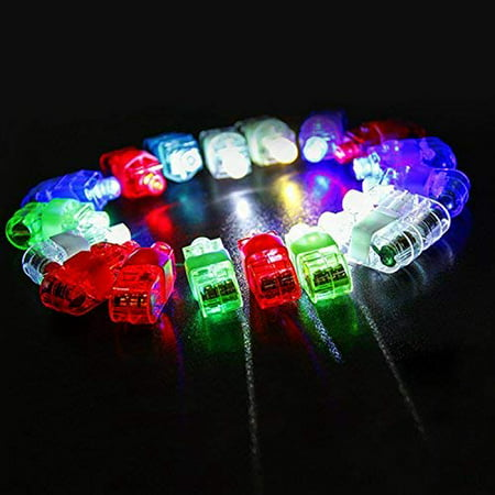Light Up Rings LED Finger Lights 100 Pcs – Glow Rings for Kids Christmas Toys for Children Glow in The Dark Party Supplies, Halloween Lights Rave Accessories (Blue Green Red White) - Led Finger Light