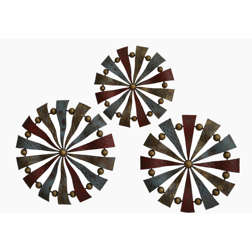Gallerie Decor Geo 3 Piece Pinwheels Sculpture Wall Decor Set