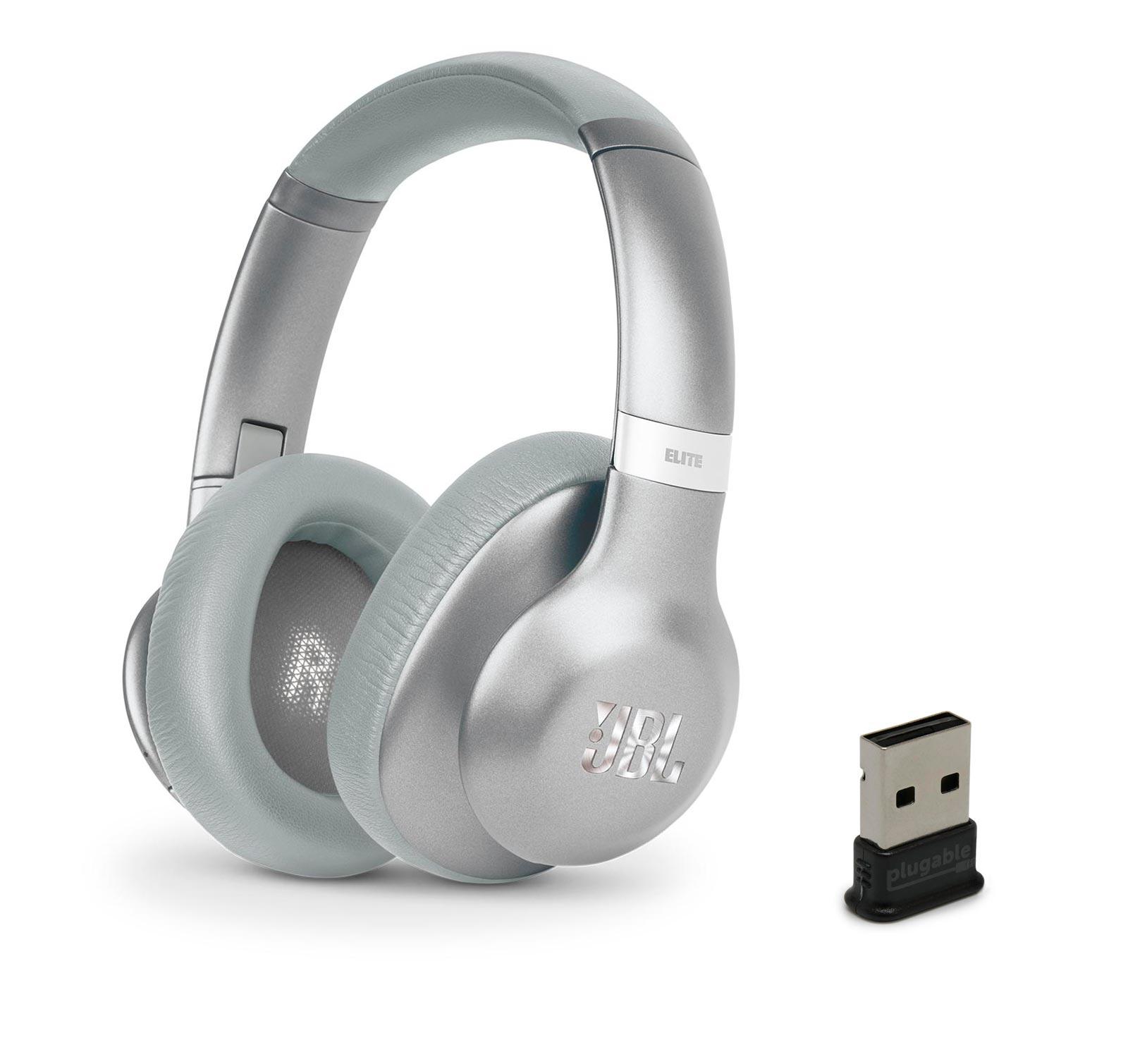 JBL Everest 750 Silver Headphones w/ USB Bluetooth Adapter