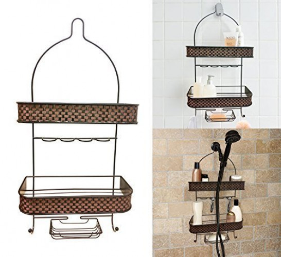 Decor Hut Shower Caddy with Soap Holder, Hang Over Shower Head, 2 Tier Shower Accessories... by Decor Hut
