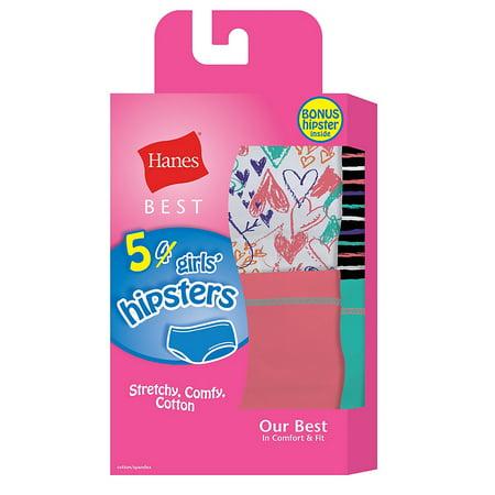 Hanes Best Girls' Cotton Stretch Hipsters 5-Pack (4 + 1 Free Bonus (Best Cherokee Underwear)
