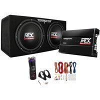 """MTX Dual 12"""" Subwoofers and Amplifier Package with AKS8 Wiring Kit & Capacitor"""