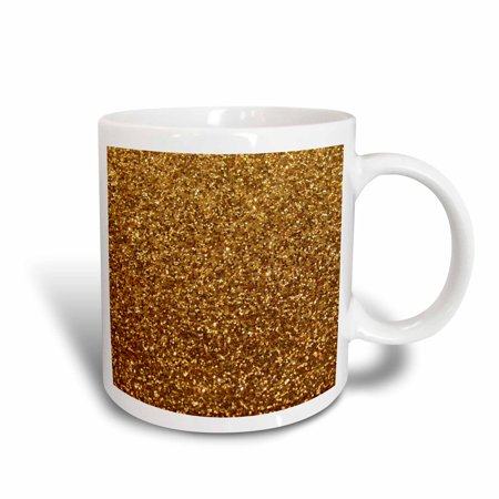 - 3dRose Gold Faux Glitter - photo of glittery texture - glam sparkles sparkly bling - glam stylish girly - Ceramic Mug, 11-ounce