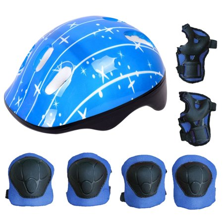 Justdolife 7PCS Kids Protective Gear Adjustable Skate Helmet with Knee Pads Elbow Pads Wrist Pads for Skateboarding Cycling (Blue) ()