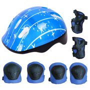Justdolife 7PCS Kids Protective Gear Adjustable Skate Helmet with Knee Pads Elbow Pads Wrist Pads for Skateboarding Cycling (Blue)