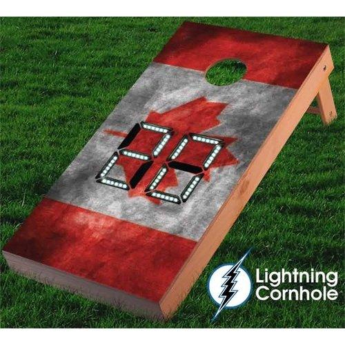 Lightning Cornhole Electronic Scoring Canadian Flag Cornhole Board