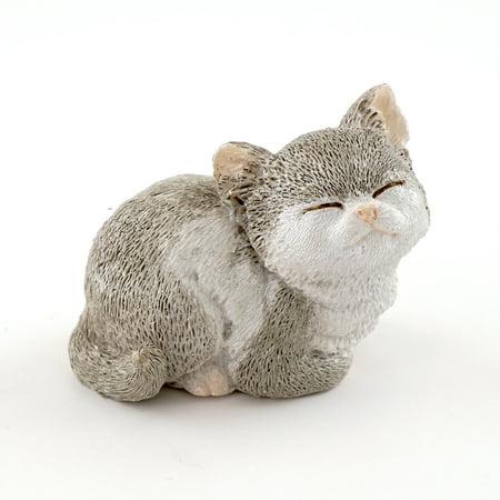 Fairy Kitty (Miniature Fairy Garden Gray Kitty Squinting)