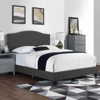 Logan Upholstered Bed with Nail Head Trim, Multiple Sizes and Colors