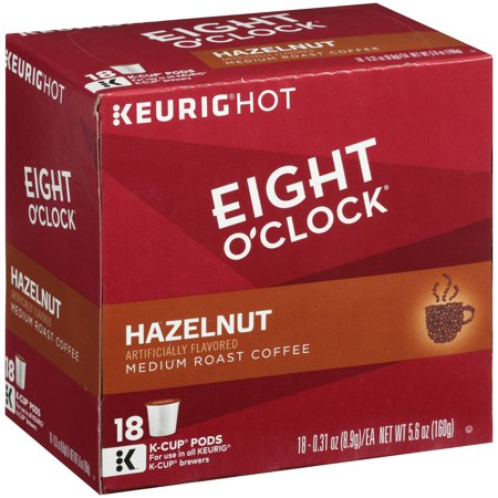 Eight O'Clock Hazelnut K-Cup Coffee Pods, 18 Count (Eight O Clock Coffee Pods)