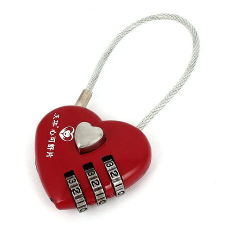 Unique Bargains Travel Suitcase Drawer Heart Shape Lock Padlock Password Combination Red