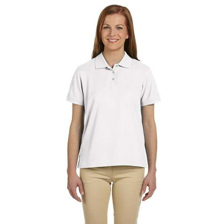 Devon & Jones D112W Ladies Pima Pique SS Polo Shirt - White - Small