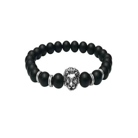 Wholesale Buddha Leo Lion Bracelet Black Lava Stone Bead Bracelets For Women
