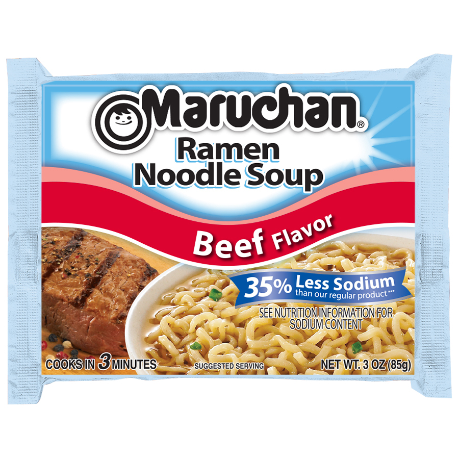 Maruchan�� Beef Flavor 35% Less Sodium Ramen Noodle Soup 3 oz. Bag