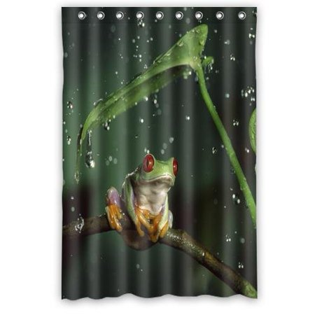 HelloDecor Red Eyes Frog Shower Curtain Polyester Fabric Bathroom Decorative Size 48x72 Inches
