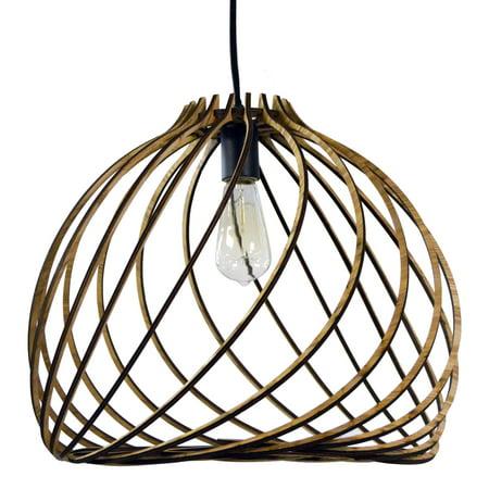 Ic Incandescent Pendant - Dainolite 1 Light Incandescent Pendant, Wood Finish