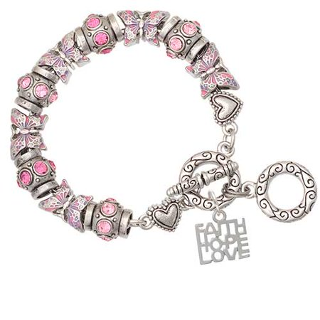 - Faith Hope Love Pink Butterfly Bead Charm Bracelet