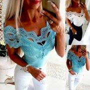 Fashion Women Summer Boho T Shirts Ladies Casual Short Sleeve Lace Blouse Tops