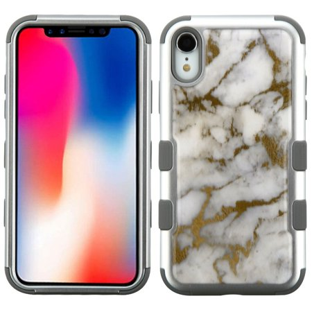 Insten Tuff Krystal Gel Marble Dual Layer [Shock Absorbing] Hybrid Hard Plastic/Soft TPU Rubber Case Cover For Apple iPhone XR, Gray/Gold - image 5 of 5