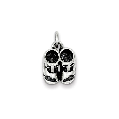Sterling Silver Antiqued Baby Shoes Charm