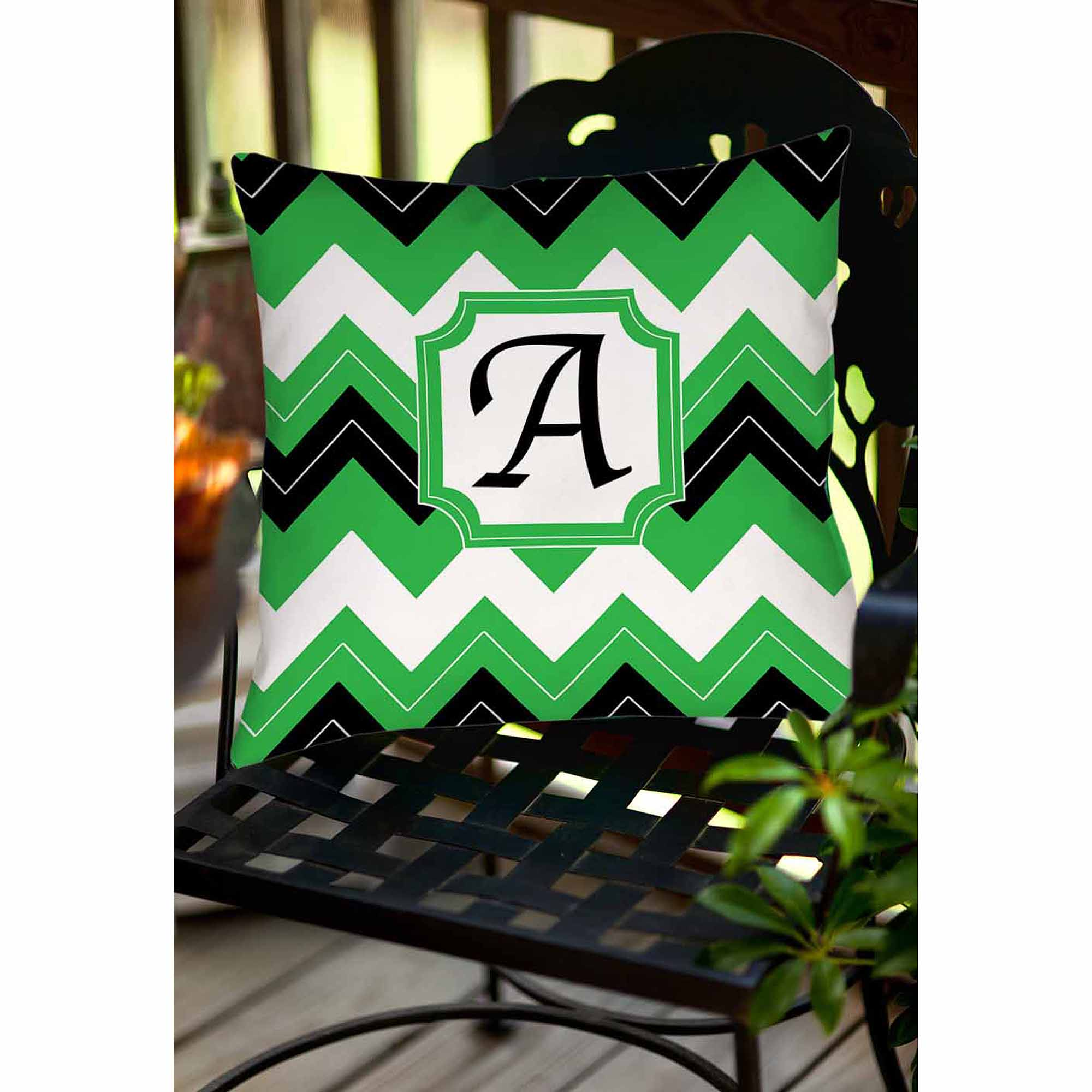 Thumbprintz Chevron Monogram Decorative Indoor/Outdoor Pillow, Black