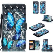 iPhone 6 6S Case, iPhone 7 Case Wallet, iPhone 8 Case, Allytech 3D Emboss Leather Flip Protective Cover & Credit Card Slots Pocket, Kickstand Slim Case for Apple iPhone 6 6S 7 8 ( Big Butterfly )