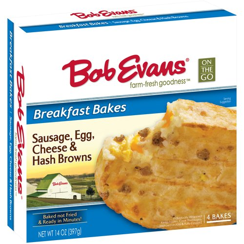 Bob Evans On the Go Breakfast Bakes with Sausage, Egg, Cheese & Hash Browns, 4 count, 14 oz