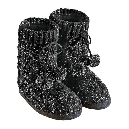 Lurex Liner (Lurex Cable Knit Slipper Boots with Fleece Lining, Fun Pom Poms, Extra Warm and Flexible, Mid-Calf, Medium,)