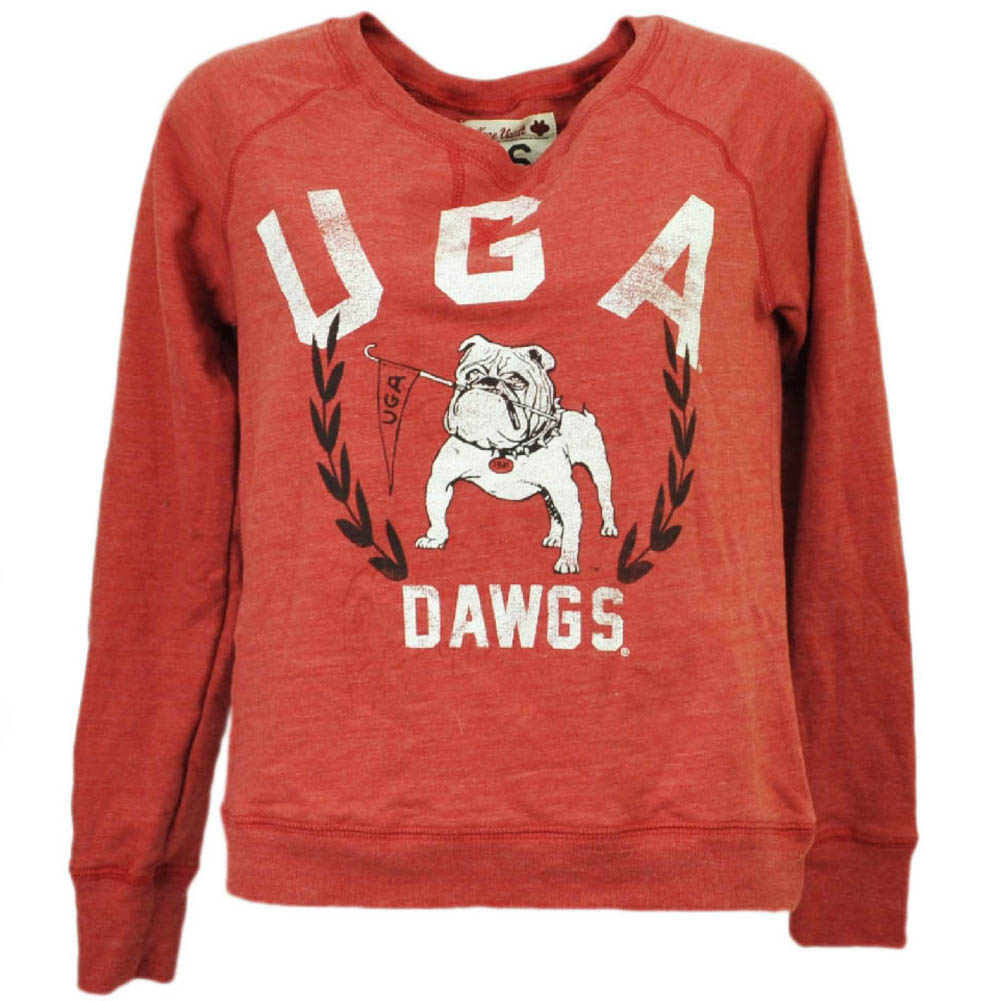 NCAA Georgia Bulldogs Distressed Long Sleeve Reds Tshirt Pullover Womens XSmall by College Vault