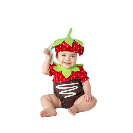 Strawberry Girls Infant Cute Chocolate Covered Fruit Halloween Costume - Infant Girl Superhero Costumes
