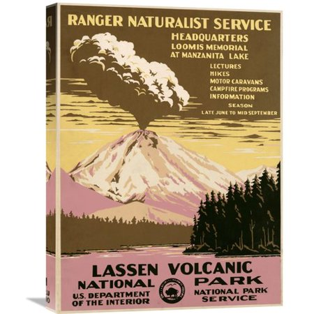 Global Gallery Lassen Volcanic National Park  Ca  1938 By Ranger Naturalist Service Vintage Advertisement On Wrapped Canvas