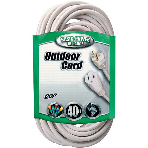 Coleman Cable 16 3 SJTW Outdoor 40' Vinyl Extension Cord, White by Generic
