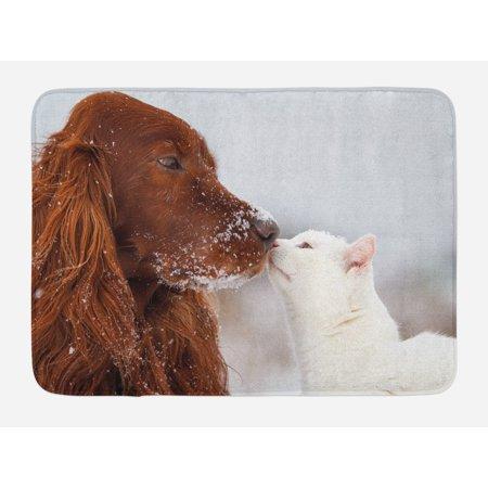 Winter Bath Mat, Irish Setter and Cute White Cat in Snow Kissing Friendship Love Romance, Non-Slip Plush Mat Bathroom Kitchen Laundry Room Decor, 29.5 X 17.5 Inches, Dark Orange White Beige, Ambesonne