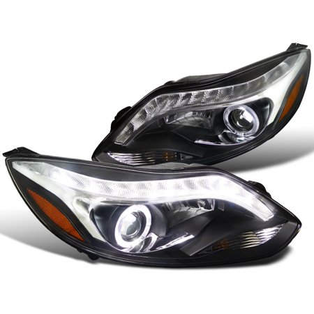 - Spec-D Tuning 2012-2014 Ford Focus Led Strip Projector Headlights W/ Halo Rim Black 2012 2013 2014 (Left + Right)