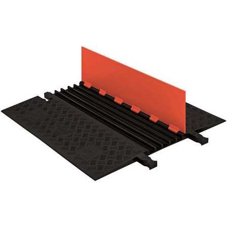Checkers Industrial Safety Products GD5X75-O-B Polyurethane Heavy Duty 5 Channel Low Profile Cable Protector with ADA Compliant Ramp, Orange Lid with Black Ramp Ada Compliant Accessories