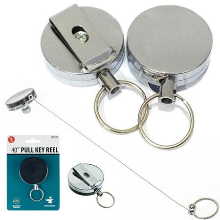 Heavy Duty Retractable Reel Badge Id Holder Belt Clip Nurse Clip Name Card Key ! - Retractable Name Badge Holders