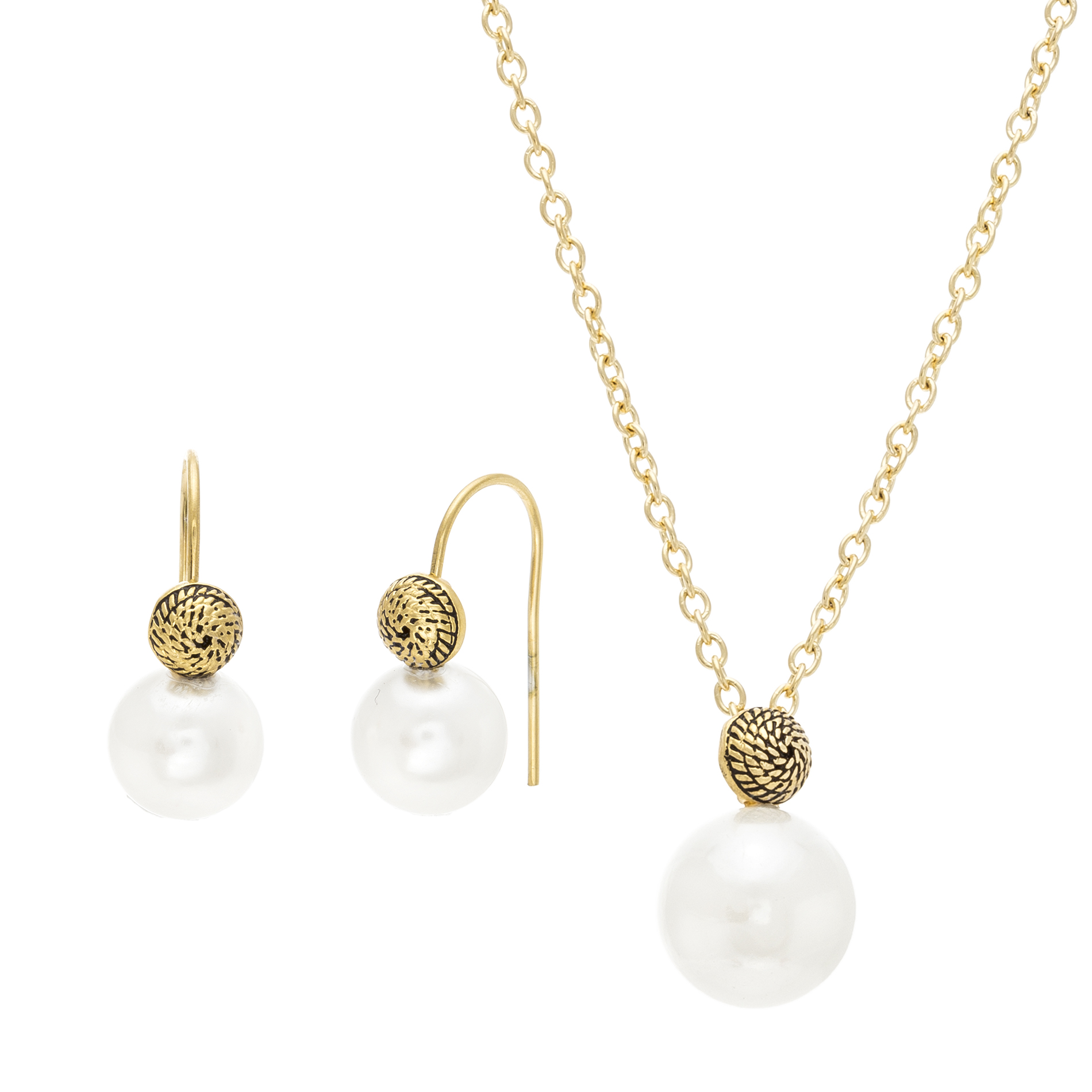 Gold-Tone Stainless Steel Freshwater Pearl Cable Chain and Hook Necklace and Earring Set