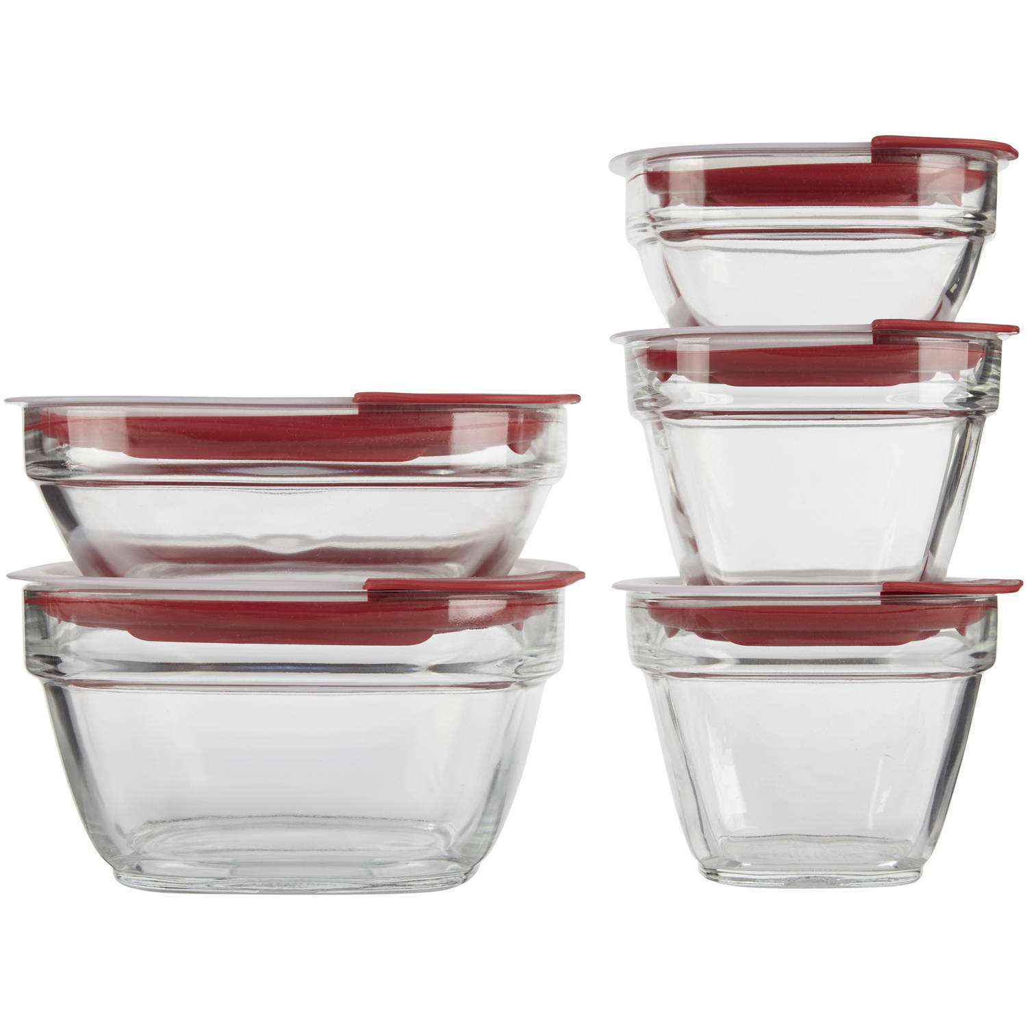 Rubbermaid Glass with Easy Find Lids 10-Piece Set, Red