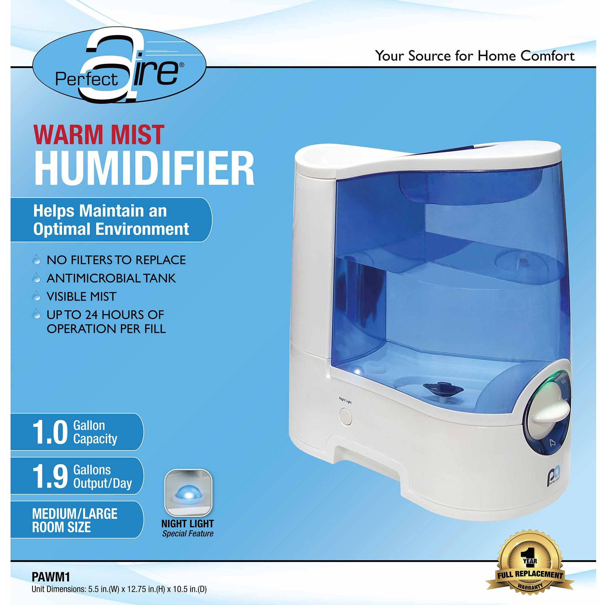 Perfect Aire 1.0-Gallon Warm Mist Humidifier