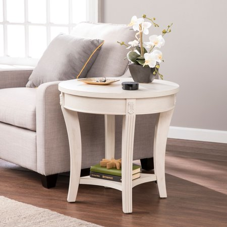 Southern Enterprises Lirreo Traditional Round End Table, Whitewash