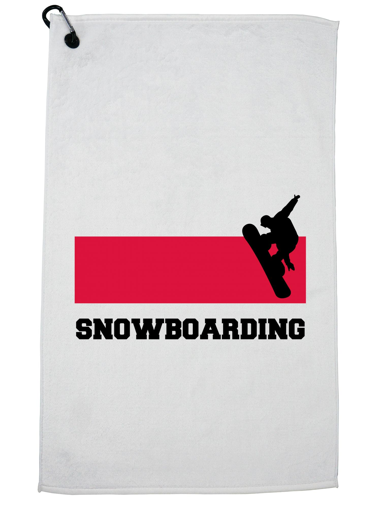Poland Olympic Snowboarding Flag Silhouette Golf Towel with Carabiner Clip by Hollywood Thread