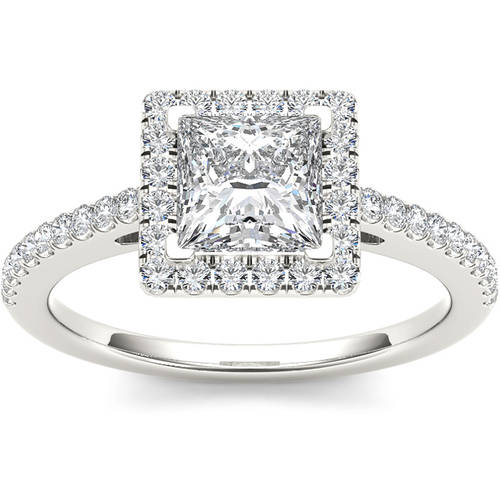 1-1/4 Carat T.W. Diamond Princess-Cut Single Halo 14kt White Gold Engagement Ring