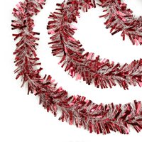"Northlight 50' x 4"" Unlit Red Snowblush Wide Cut Christmas Tinsel Garland"