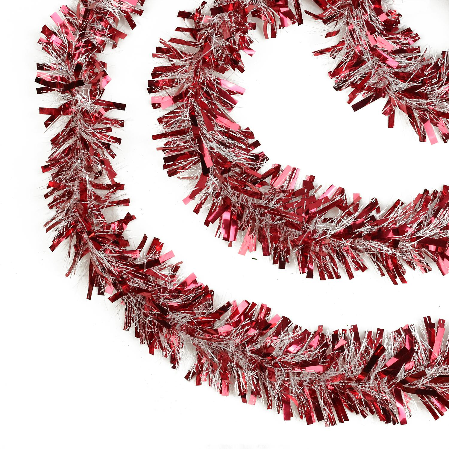 "Northlight 50' x 4"" Unlit Red Snowblush Wide Cut Christmas Tinsel Garland"