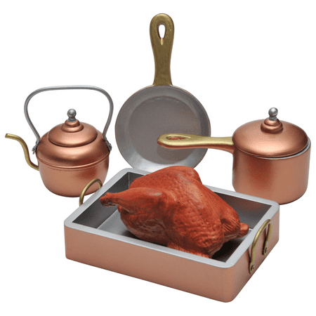 7 Piece Copper Look Pots, Pans, Kettle + Roast Chicken, Great Accessory for 18 Inch Dolls