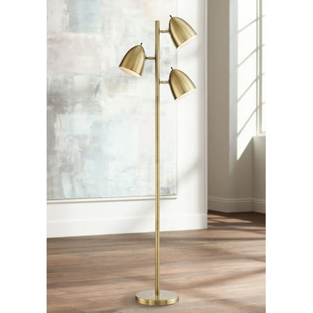 360 Lighting Mid Century Modern Floor Lamp Aged Brass 3-Light Tree Adjustable Dome Shades for Living Room Reading Bedroom - Light Brass Floor Lamp